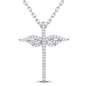 Diamond Cross w/Angel Wings Necklace